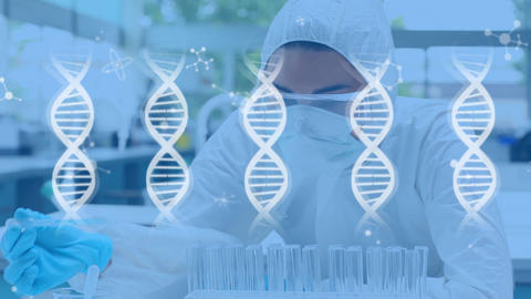 Scientist in lab and DNA double helix, Stock Animation