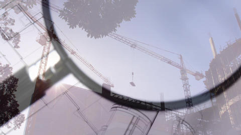 Magnifying glass over building plans Animation