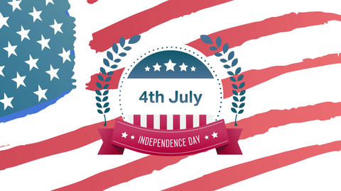 4th of July, Independence Day text in banner and American flag Animation