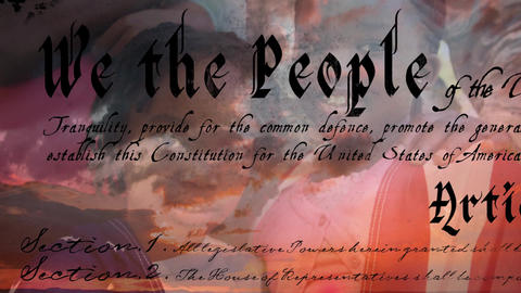 Written constitution of the United States and children smiling 4k Animation
