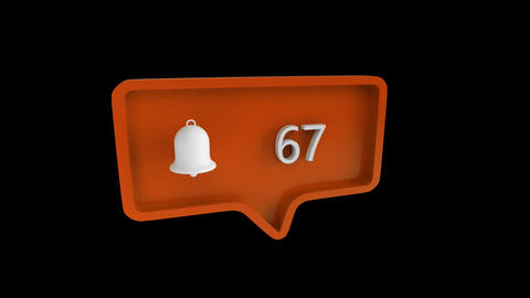 Bell icon with increasing number count for social media Animation
