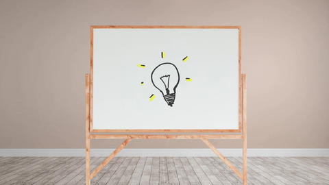 Light bulb drawing in a white board Animation