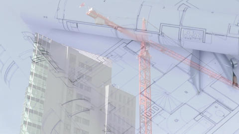 Building plans on a table Animation