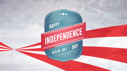 Happy Independence Day, 4th of July text in a badge Animation