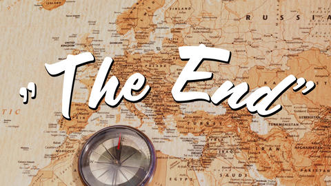 The End sign and world map Animation