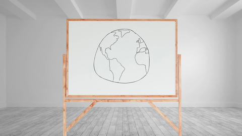 Drawing of a globe in a white board Animation