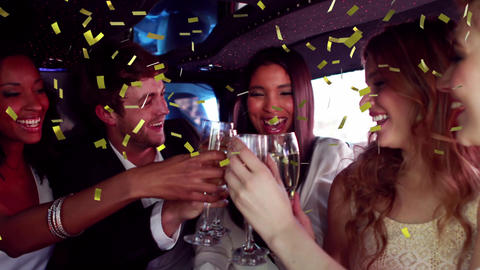 Group of friends celebrating in a limousine 4k Animation