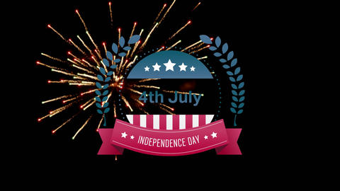 4th of July, Independence day text in banner and fireworks Animation