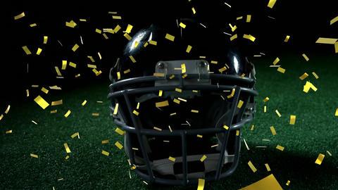 Football helmet with confetti Animation