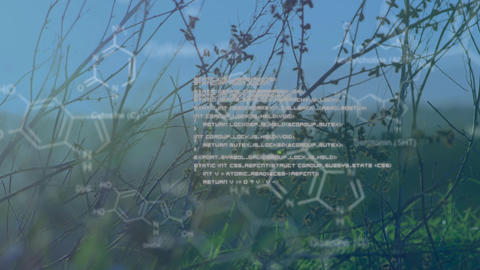Chemical structures with program codes and a background of grasses and transmission towers in a fiel Animation