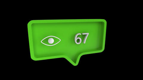 Eye icon with number count up in a message bubble on social media Animation