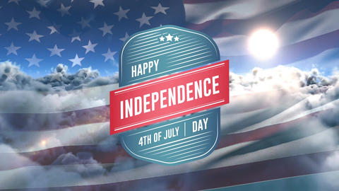 Happy Independence Day, 4th of July text in badge and American flag Animation
