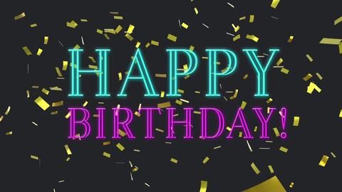 Happy Birthday text and confetti Animation