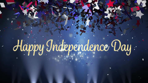 Happy Independence Day greeting with lights and confetti Animation