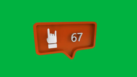 Rock finger sign with numbers counting up on social media Animation