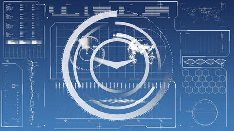 Clock with graphs and statistics Animation