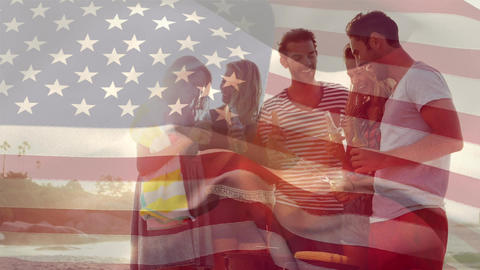 Group of friends at the beach and the American flag for fourth of July Animation