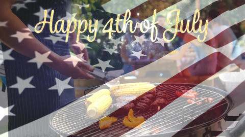 Happy 4th of July text and a group of friends in a picnic Animation
