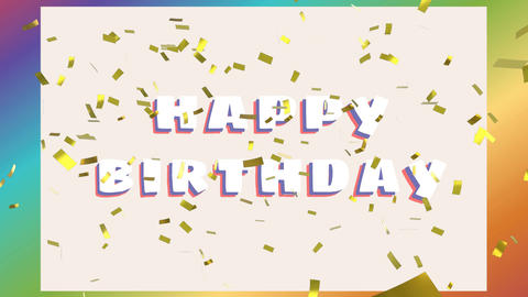 Happy birthday greeting with confetti Animation