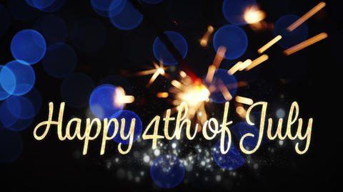 Happy 4th of July text and a sparkle Animation