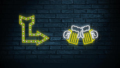 Neon sign showing arrow and chinking beer glasses Animation