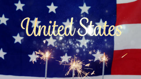 United States text and an American flag behind a cupcake with sparkles for fourth of July Animation