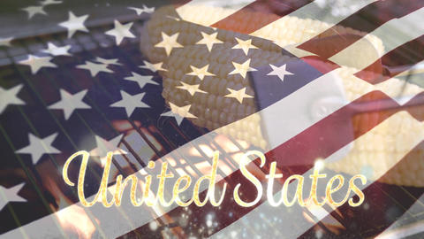 Corn being grilled and the American flag with United States text for fourth of July Animation