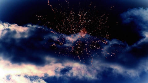 Dark cloudy sky with fireworks Animation