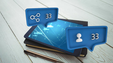 A tablet over a notebook and message bubble with icons for social media Animation