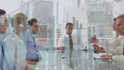 Business people discussing in an office and graphs 4k Animation