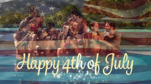 Group of friends in a pool and the American flag with a Happy 4th of July text Animation
