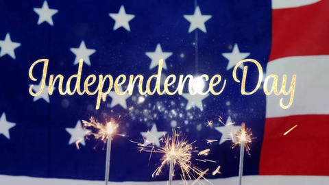 Independence day text and an American flag behind cupcakes with sparkles for fourth of July Animation