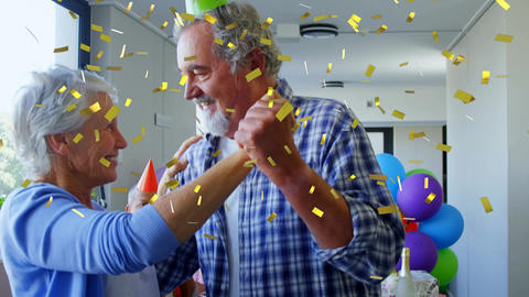Old couple dancing at a birthday party Animation