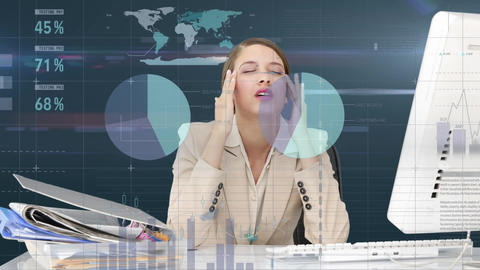 Graphs and woman looking stressed Animation