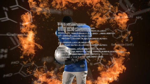 Football player and chemical structures with program codes Animation