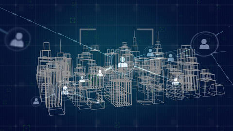 Profile icons and virtual buildings in a city Animation
