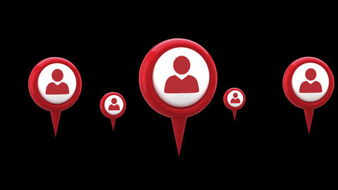 Map pin and profile icons 4k Animation