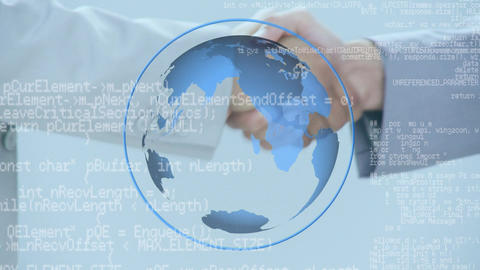 Businessmen and a globe with program codes Animation