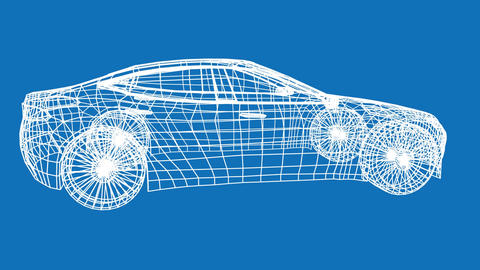 Revolving technical drawing of car Animation