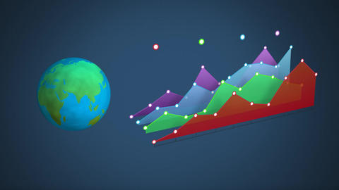 Globe and colourful chart on dark background Animation