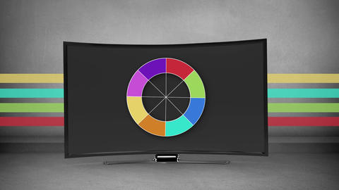 Colourful wheel appears and disappears on a flatscreen Animation