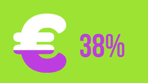 Euro symbol and increasing percentage in pink 4k Animation