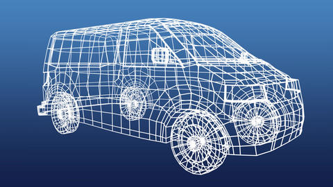 Technical drawing of van on a blue background Animation