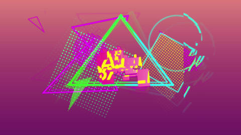 Sale graphic and colourful shapes tumble into place on dark pink background 4k Animation