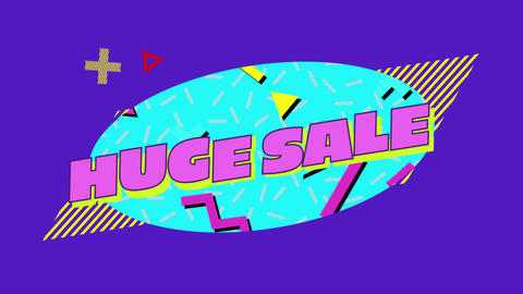 Huge Sale graphic in blue oval on a purple background 4k Animation