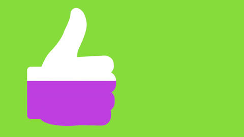 Likes progress with thumbs up symbol in pink on bright green background 4k Animation