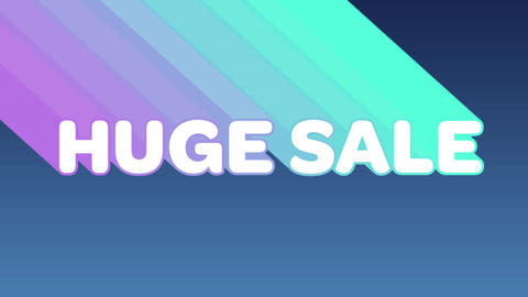 Huge sale graphic with colourful trails on dark grey background 4k Animation