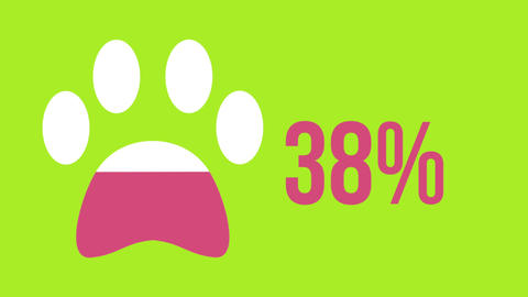 Animal paw shape and rising percentage filling with colour 4k Animation