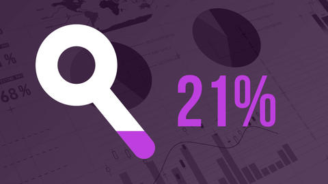 Search progress with magnifying glass shape and rising percentage on dark purple background with dat Animation