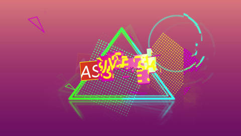 Massive sale graphic and colourful shapes tumble into place on dark pink background 4k Animation